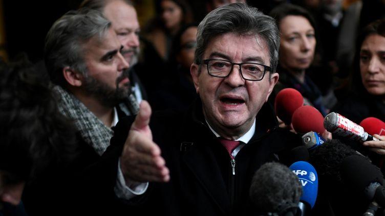 Le leader de La France insoumise, Jean-Luc Mélenchon, le 9 décembre 2019, au tribunal de Bobigny (Seine-Saint-Denis). (STEPHANE DE SAKUTIN / AFP)