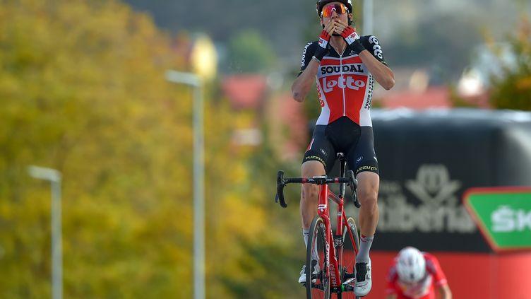 Tim Wellens a remporté la première victoire de sa carrière sur la Vuelta (ANDER GILLENEA / AFP)