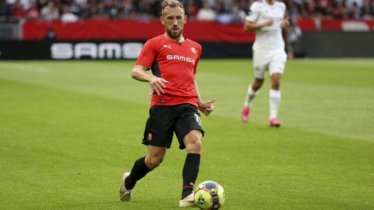 Flavien Tait (ici face à Rosenborg) a ramené les Rennais dans le match contre Tottenham. (JEAN CATUFFE / DPPI / AFP)