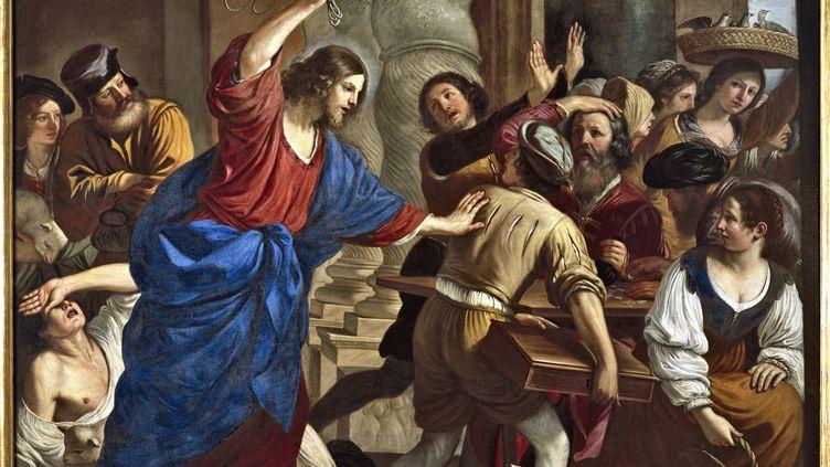 Jésus chassant les marchands du temple, de Guercino (Le Guerchin,1591-1666) (LEEMAGE)