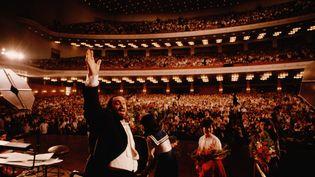 LucianoPavarotti en concert à l'Assemblée du Peuple de Pékin, en Chine, en 1986. (VITTORIANO RASTELLI / CORBIS HISTORICAL)