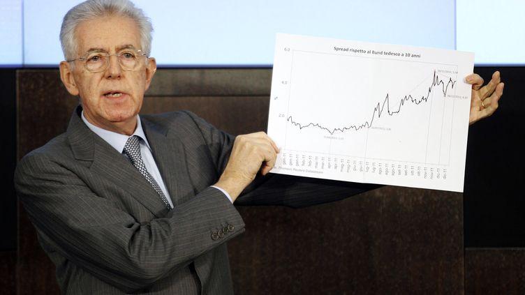 Mario Monti, lors de la présentation de son plan de relance àRome (Italie), le 29 décembre 2011. (GIAMPIERO SPOSITO / REUTERS)