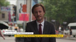Arnauld Miguet, correspondant de France Télévisions qui a passé 133 jours à Wuhan (Chine) pendant l'épidémie de Covid-19, témoigne depuis Shanghai, le 4 juin 2020. (FRANCEINFO)