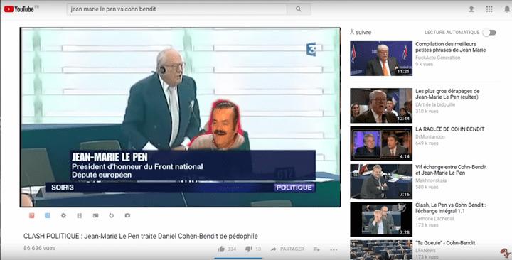L'image de l'humoriste espagnol Risitas est superposée à celle de Marine Le Pen. (RAPTOR DISSIDENT)
