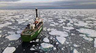 Un navire de Greenpeace navigue entre des morceaux de banquise dans l'océan Arctique, le 15 septembre 2020, sur une image prise par l'ONG. (NATALIE THOMAS / REUTERS)