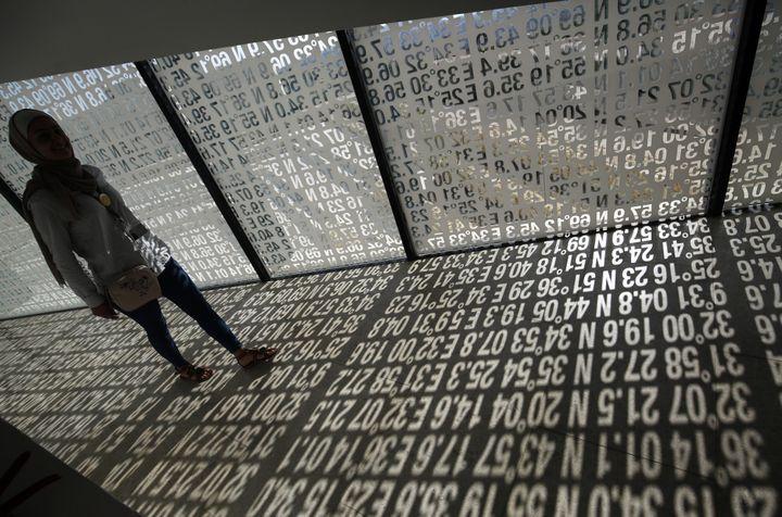 """Installation dans l'exposition """"Jérusalem vit"""" au Musée palestinien de Bir Zeit.  (ABBAS MOMANI / AFP)"""