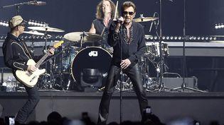 Johnny Hallyday se produit sur la scène de Bercy, le 27 novembre 2015. (FRANCOIS GUILLOT / AFP)