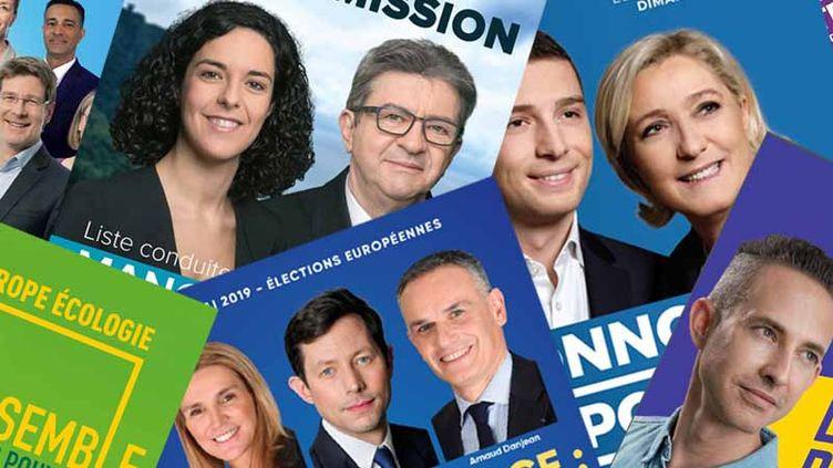 Des affiches électorales de la campagne des européennes 2019. (FRANCEINFO)