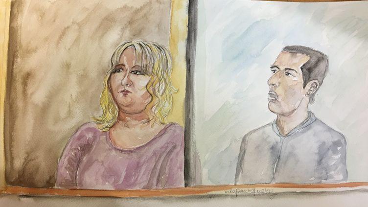 Cécile Bourgeon etBerkane Makhlouf lors du procès de l'affaire Fiona, à la cour d'assises du Puy-de-Dôme, le 25 novembre 2016. (ELISABETH DE POURQUERY / FRANCEINFO)