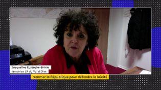 Jacqueline Eustache-Brinio, sénatrice (LR) du Val-d'Oise, était l'invitée du journal de 23 Heures de franceinfo, lundi 19 octobre. Elle a évoqué le rapport qu'elle avait remis au Sénat dans le cadre de la lutte contre la radicalisation. (FRANCEINFO)