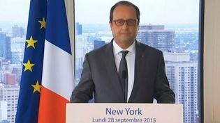 Capture d'acran montrantFrançois Hollande face à la presse en marge de l'Assemblée générale des Nations unies, le 28 septembre ( FRANCE TÉLÉVISIONS )