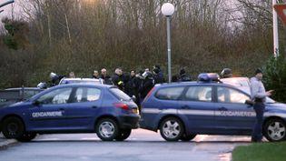 Les véhicules des gendarmes déployés à Dammartin-en-Goële (Seine-et-Marne), où les frères Kouachi étaient retranchés dans une imprimerie, le 9 janvier 2015. (KENZO TRIBOUILLARD / AFP)