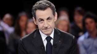 Nicolas Sarkozy à Des paroles et des actes, le mardi 6 mars 2012. (LIONEL BONAVENTURE / AFP)
