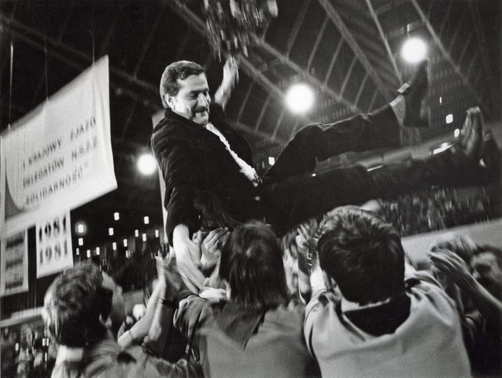 Lech Walesa lors du premier congrès national des délégations de Solidarność, en septembre 1981, à Gdańsk, en Pologne. (MAXPPP)