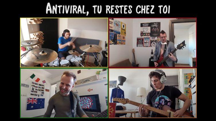 """Le groupe français Fastened Furious, spécialiste des parodies rock, dans le clip de """"Antiviral, tu restes chez toi"""", adapté du brûlot """"Antisocial"""" de Trust. (SAISIE ECRAN YOUTUBE)"""