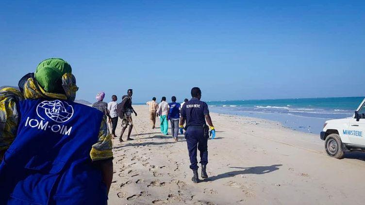 Des gendarmes et des bénévoles recherchent des corps le long des plages de la région de Godoria, en République de Djibouti, où deux bateaux de migrants ont coulé le 29 janvier 2019. (INTERNATIONAL ORGANIZATION FOR MIGRATION/AFP)
