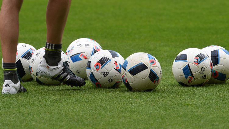 Des ballons de football avant le match amical Allemagne-Slovaquie à Augsburg, dans le sud de l'ALlemagne, le 29 mai 2016. (CHRISTOF STACHE / AFP)
