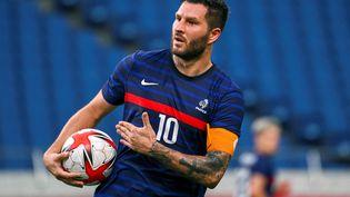 L'attaquant français André-Pierre Gignac a été la principale satisfaction des Bleus lors de ce tournoi olympique, comme face à l'Afrique du Sud, dimanche 25 juillet 2021. (KAZUHIRO NOGI / AFP)