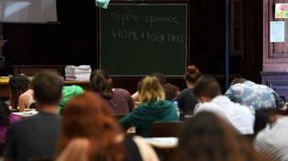 Une épreuve du baccalauréat à Strasbourg, en juin 2017. Photo d'illustration. (FREDERICK FLORIN / AFP)