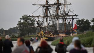 Arrivée le 17 juin de l'Hermione au port de Rochefort  (XAVIER LEOTY / AFP)
