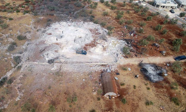 Une photo aérienne prise par un drone de la zoneprès d'Idleb, dans le nord-ouest de la Syrie, où Abou Bakr Al-Baghdadiest mort dans la nuit du 26 au 27 octobre 2019. (AHMET WEYS / ANADOLU AGENCY)