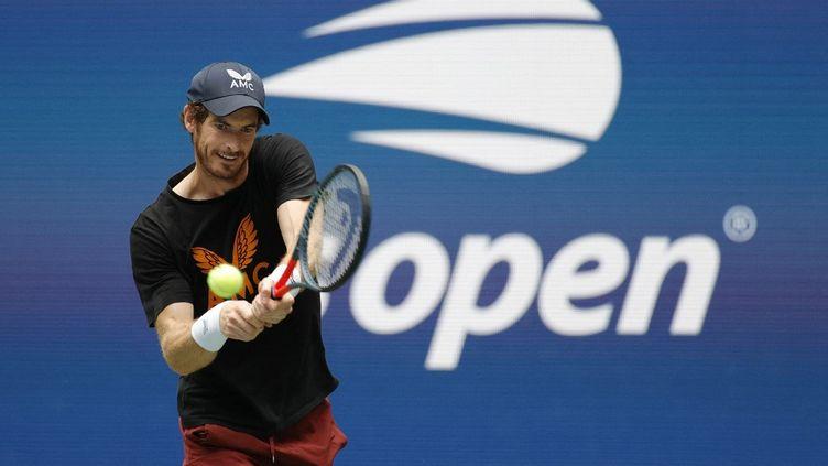 L'Ecossais Andy Murray en session d'entraînement à l'US Open, samedi 28 août 2021. (SARAH STIER / GETTY IMAGES NORTH AMERICA / AFP)