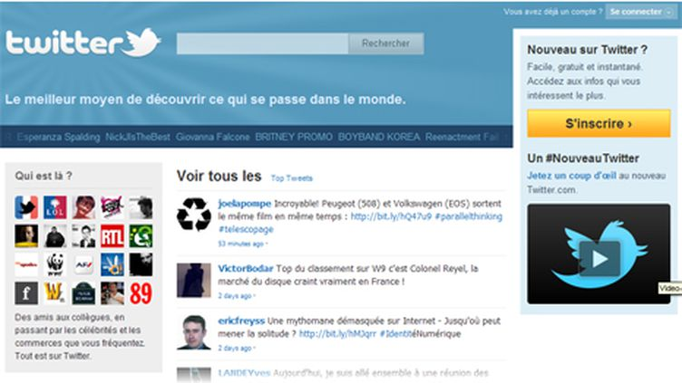 Capture d'écran de la homepage de Twitter (Twitter)