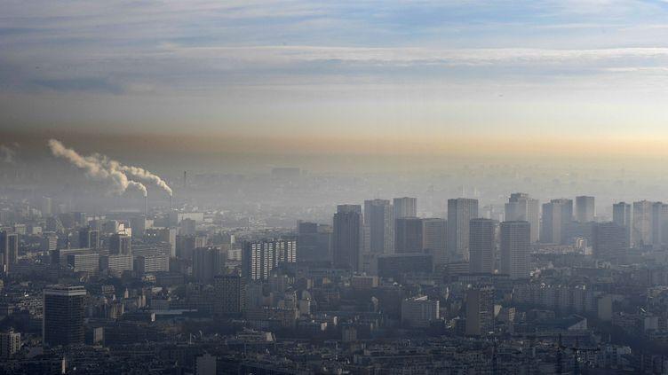 Paris lors d'une vague de pollution, le 9 décembre 2016. (BERTRAND GUAY / AFP)