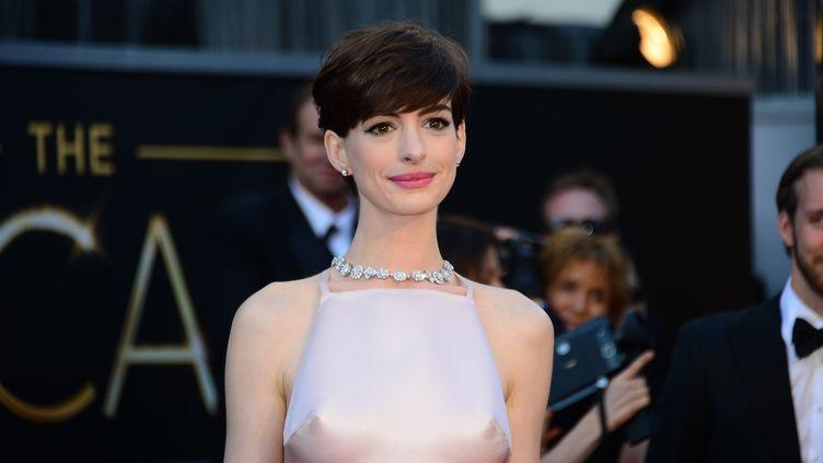 Anne Hathaway à son arrivée sur le tapis rouge des Oscars, dimanche 24 février 2013. (FREDERIC J. BROWN / AFP)