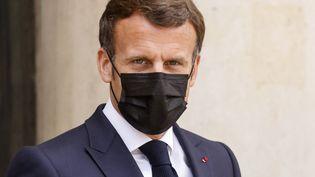 Emmanuel Macron, à l'Elysée, le 29 avril 2021. (LUDOVIC MARIN / AFP)