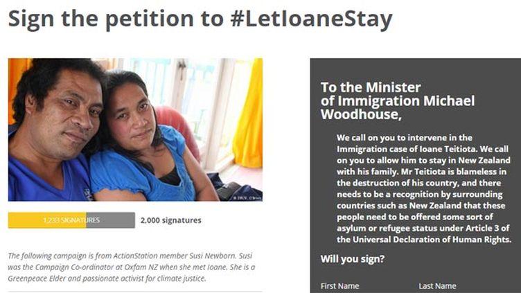 (Une pétition avait été lancée pour que Ioane Tetiota reste en Nouvelle-Zélande © capture d'écran du site actionstation.org.nz/climaterefugee)