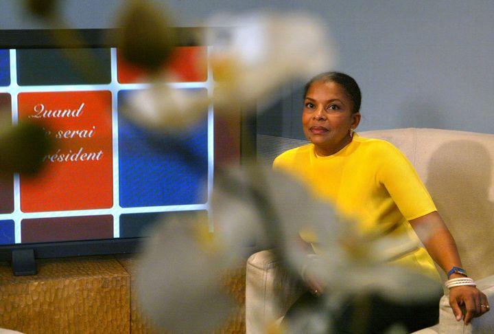 Christiane Taubira sur le plateau de France 3, le 13 mars 2002 à Paris. (JOEL SAGET / AFP)