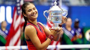 La Britannique Emma Raducanu a remporté la finale de l'US Open face à la Canadienne Leylah Fernandez, samedi 11 septembre 2021. (ELSA / GETTY IMAGES NORTH AMERICA / AFP)