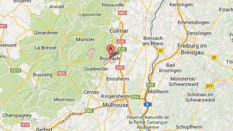 Au moins trois hommes ont braqué un supermarché, mercredi 30 octobre 2013, à Rouffach (Haut-Rhin). ( GOOGLE MAPS / FRANCETV INFO )