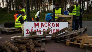 """Des """"gilets jaunes"""" bloquent un rond-point à Dinan (Côtes-d'Armor), le 20 novembre 2018. (MARTIN BERTRAND / HANS LUCAS / AFP)"""