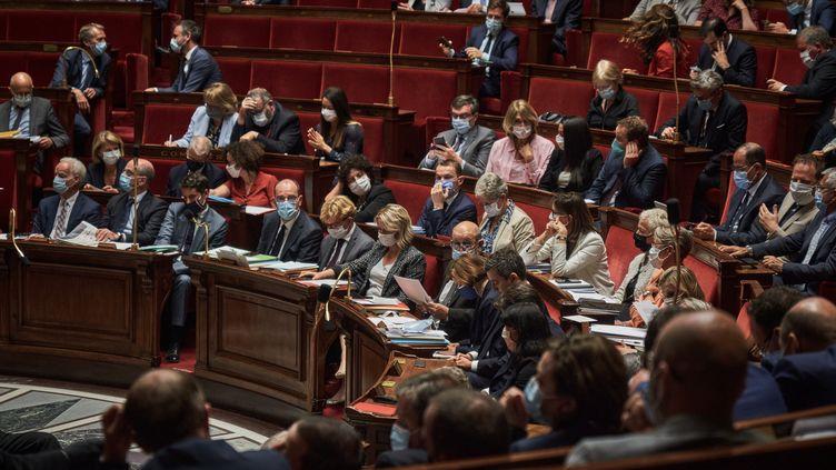 Les députés réunis en séance le 21 juillet 2020 à l'Assemblée nationale à Paris. (ANTONIN BURAT / HANS LUCAS / AFP)