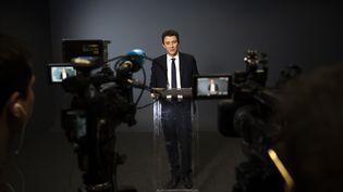 Benjamin Griveaux lors de son annonce de renoncement à la candidature à la mairie de Paris, le 14 février 2020. (LIONEL BONAVENTURE / AFP)