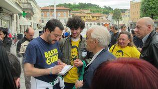 Matteo Salvini,secrétaire national de la Ligue du nord italienne, à Monfalcone le 13 mai 2014. (SALOME LEGRAND / FRANCETV INFO)
