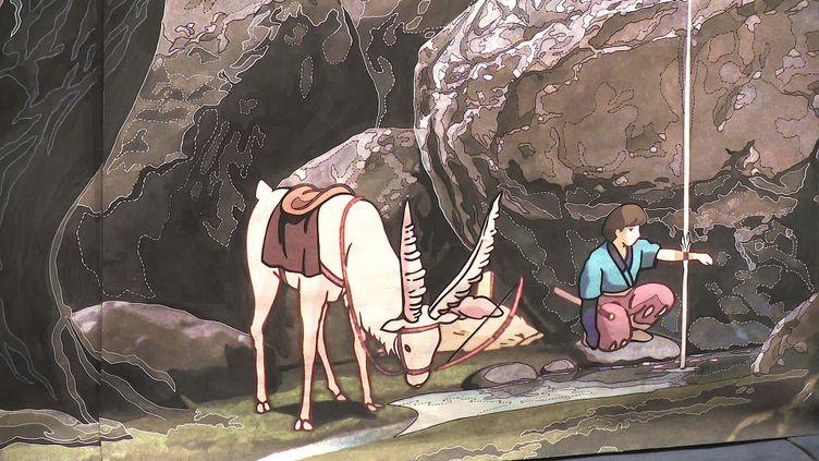 Le carton de Princesse Mononoké servant à la réalisation de la future tapisserie d'Aubusson dédiée à l'univers de Miyazaki (France 3 Limousin)