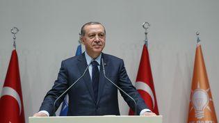 Le président turc, Recep Tayyip Erdogan, lors de son discours à Ankara (Turquie), le 2 mai 2017. (KAYHAN OZER / ANADOLU AGENCY / AFP)