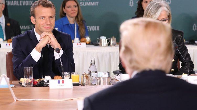 Emmanuel Macron face à Donald Trump lors du G7 à La Malbaie, au Québec, le 9 juin 2018. (LUDOVIC MARIN / POOL)