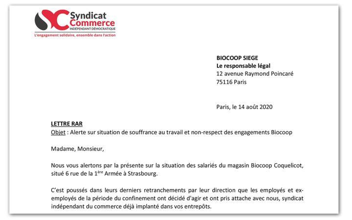 Extrait du courrier envoyé par le syndicat SCID au siège de Biocoop sur la situation des salariés du magasin Biocoop Coquelicot à Strasbourg. (RADIO FRANCE)