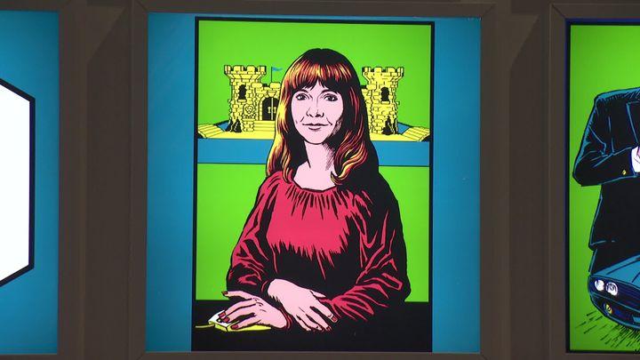 Design-moi un jeu vidéo - Cité du design de Saint-Etienne - Le portrait deRoberta Williams, l'américaine à l'origine des jeux Mystery House et King's Quest. (D. Grousson / France Télévisions)