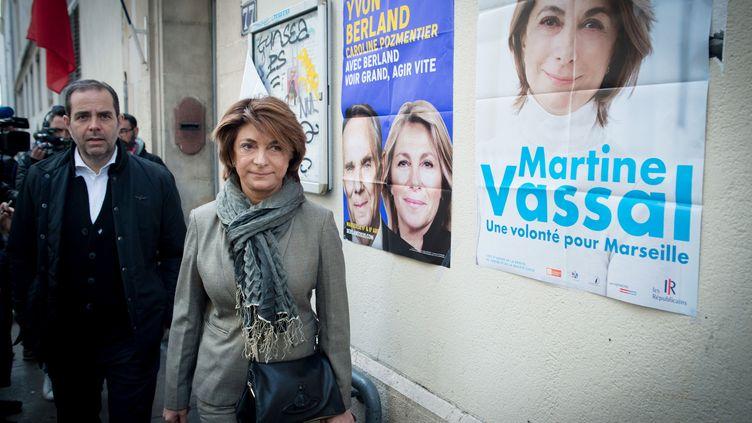 La candidate LR Martine Vassal lors du vote pour le premier tour des municipales à Marseille, le 15 mars 2020. (CHAMUSSY/SIPA)