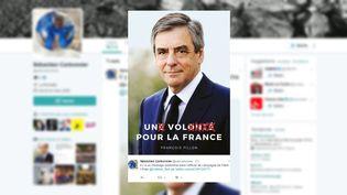 L'affiche de campagne de François Fillon a été détournéepar les internautes dès sa publication, le 28 mars 2017. (SEBASTIEN CARBONNIER / TWITTER)