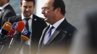 François Hollande s'exprime face à la presse, à Bratislava (Slovaquie), le 16 septembre 2016. (JOE KLAMAR / AFP)