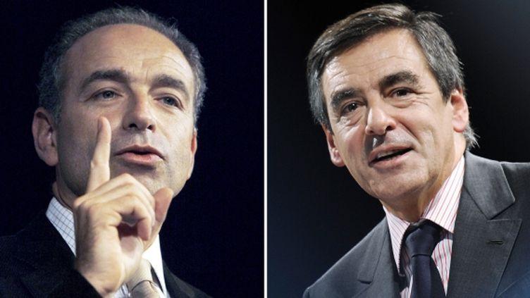 Le président proclamé de l'UMP, Jean-François Copé, et l'ancien Premier ministre, François Fillon. (NICOLAS TUCAT / XAVIER LEOTY / AFP)