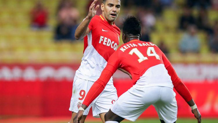 Falcao et Keita Baldé, buteurs lors de la victoire de Monaco face à Caen. (VALERY HACHE / AFP)