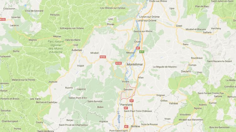 La commune de Donzère (Drôme) est située au sud de Montélimar, à proximité de l'autoroute A7. (GOOGLE MAPS / FRANCE INFO)