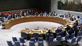 Le Conseil de sécurité de l'ONU réuni après le tir d'un missile nord-coréen au-dessus du Japon, à New York, le 29 août 2017. (KENA BETANCUR / AFP)